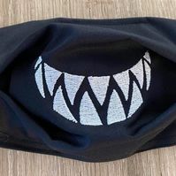 Shark teeth Embroidered Logo Face Masks. Superior Quality. Adult or child sizes.
