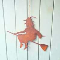 Rusty Witch On Broomstick With Hessian Hanging Rope, Witch, Halloween