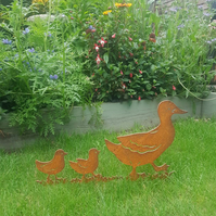 Rusty Duck And Ducklings, Rusty, Metal, Garden Ornament, Rustic, Mother And Duck