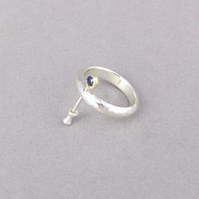 Sterling silver,Sapphire and 18k gold 'Rotating ring