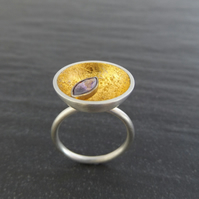 Dish ring with gold leaf and purple cubic zirconia 22ct gold setting