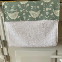 Scandi Bird Sea Foam Roller Hand Towel