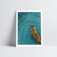 Tiger Wading Home Decor Relaxing Wall Art Illustration