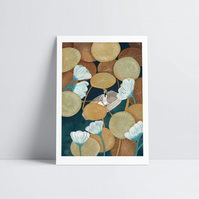 Among the Lilies Print Home Decor Tropical Wall Art