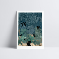 Black Cats in a Potted Jungle Home Decor Animal Illustration Tropical Art Print