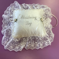 Christening Day Gift Cushion Silk and Nottingham lace