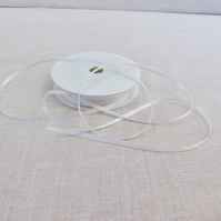 50m Reel of 3mm wide White Ribbon, Double Sided Satin Ribbon, Sewing Supplies