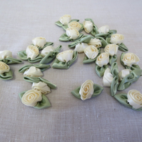 25 Pieces Large Cream Satin Roses,Craft Roses, Card Making Roses,