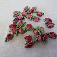 25 pieces Large Dusky Pink Satin Roses,Craft Roses,Card Making Sewing Supplies