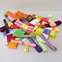 25 Bundles of assorted ribbon , Plain, Printed and Decorative all 3m in length