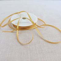 50m Reel of 3mm Wide Gold Ribbon, Double Sided Satin Ribbon,Sewing Supplies,