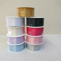 Reel of 40 mm wide satin double faced ribbon 25 metres long choice of 9 colours