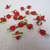 20 Pieces Small Red Striped Leaf Ribbon Roses, Craft Roses, Sewing Supplies,