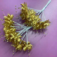 Gold satin flowers with gold pearl centre x 36