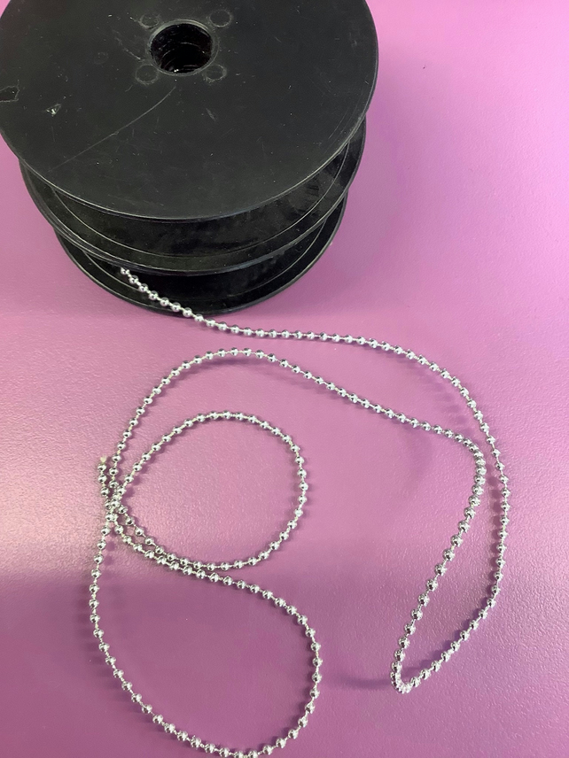 3 mm silver coloured pearl trim, sold by the metre Free delivery