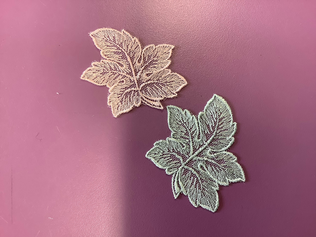 Leaf shaped lace motifs 70 mm green or pink ,sold as a pair  Free Delivery