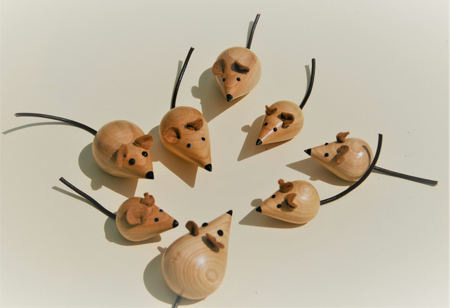 Cute Hand Turned Cherry Wood Mouse