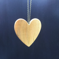 Hand Made Cherry Wood Heart Pendant