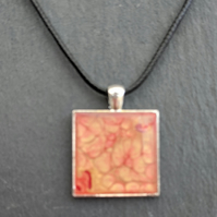 Square liquid art unique pendant on at faux leather choker