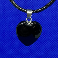 Jet polished stone heart handmade necklace