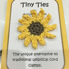 Sunflower Tiny Ties - Umbilical Cord Tie - Unique baby Shower Gift