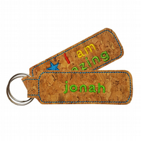Personalised Childrens Cork Bag Tag Keyring Accessory I Am Amazing Blue Star