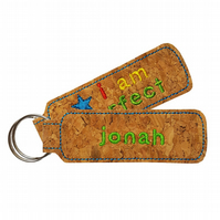 Personalised Childrens Cork Bag Tag Keyring Accessory I Am Perfect Blue Star