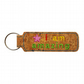 Childrens Cork Bag Tag Keyring Accessory I Am Amazing Pink Starflower