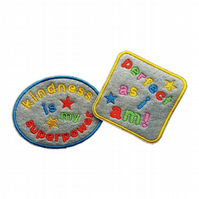 Childrens Felt Patches Kindness Is My Superpower & Perfect As I Am Sew-On Patche