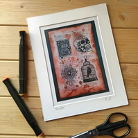 "Macabre Art Print in 10"" X 8"" Mounted Archival Quality From Original Artwork"