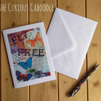 Fly Free Butterfly Quirky Greetings Card Art Print