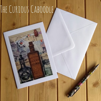 Old Curiosity Shop Apothecary Bottles Quirky Greetings Card Art Print