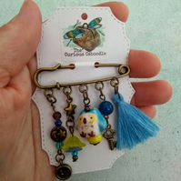 Blue and Yellow Owl with Tassel Quirky Charm Kilt Pin Brooch