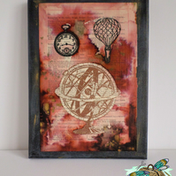 SALE - Momentum Steampunk Mixed Media and Collage Original Art on Canvas
