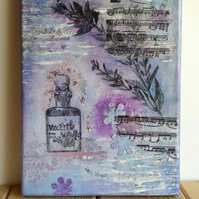 SALE - Violette Mixed Media and Collage Original Art on Canvas