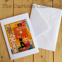 Strongman Circus Themed Blank Greeting Card with Print of Original Art