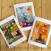 Circus Themed Greeting Cards Pack of 3 with Prints of Original Art