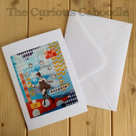 Acrobat Juggler Circus Themed Blank Greeting Card with Print of Original Art