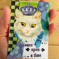 White Cat with Crown Quirky Collage and Mixed Media ACEO Miniature Art