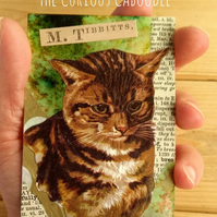 Tabby M. Tibbitts Cat Quirky Collage and Mixed Media ACEO Miniature Art