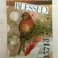 Blessed Bird Collage and Mixed Media ACEO Miniature Art