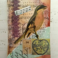 With Heart and Voice Bird Collage and Mixed Media ACEO Miniature Art