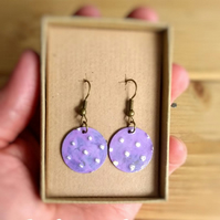 Lilac Polka Dot Boho Hippy Style Hand Embossed Brass Dangle Drop Earrings