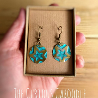 Turquoise Star Boho Hippy Style Hand Embossed Brass Dangle Drop Earrings