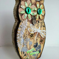 Owl Mixed Media Altered Art Assemblage called Live Gently Upon This Earth