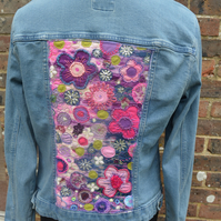 Embroidered 'Pink Flower' Denim Jacket For Women, Denim Jacket For Women UK,
