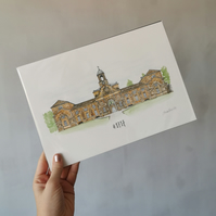 Personalised Wedding Venue Illustration - Original Watercolour Painting