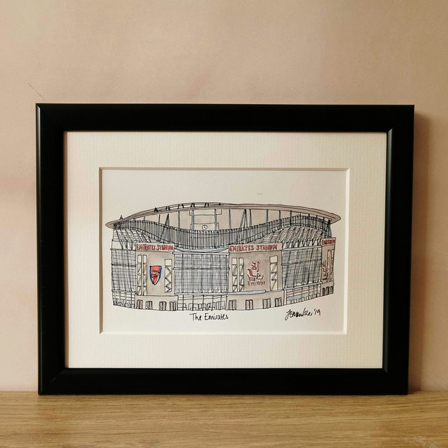 Original Arsenal Football Ground Painting - Emirates Stadium A5 Watercolour