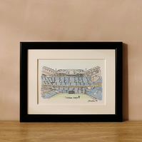 White Hart Lane Tottenham Football Ground Painting - A5 Watercolour