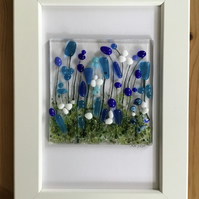 Blue, white, turquoise flowers fused glass picture in 6x4 frame.